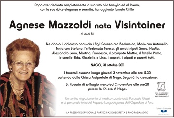 Visintainer Agnese ved. Mazzoldi