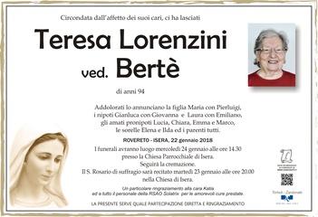 Lorenzini Teresa ved. Bertè