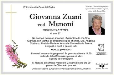 Zuani Giovanna ved. Menoni