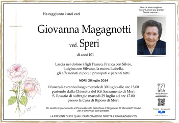 Magagnotti Giovanna ved. Speri